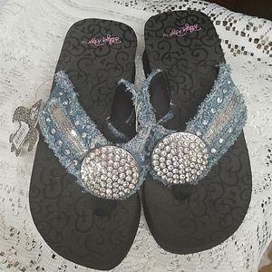 Blazing Roxx Denim Bling Sandals